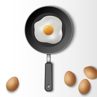 Gebakken ei met kookpan geïsoleerd op een witte achtergrond, vectorillustratie