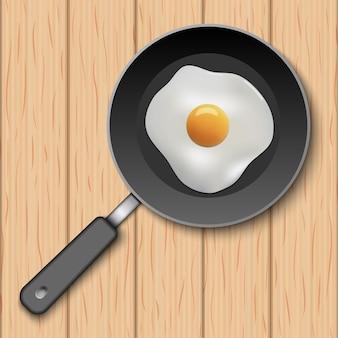 Gebakken ei met kookpan op houten tafel, vectorillustratie