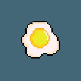 Gebakken ei met pixel art-stijl