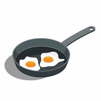 Gebakken ei op een koekenpan
