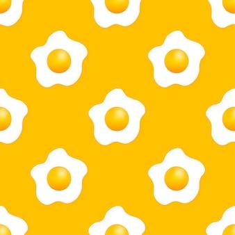 Gebakken ei pettern op gele achtergrond. vectorillustratie.