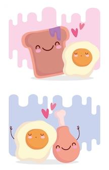 Gebakken eieren brood en kip menu karakter cartoon eten schattig