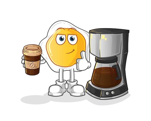 Gebakken eieren die koffieillustratie drinken. karakter