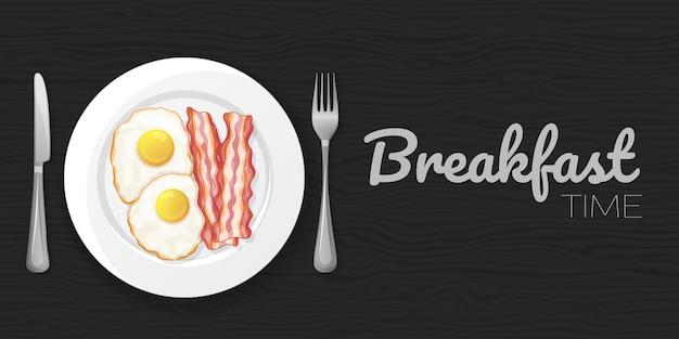 Gebakken eieren en spek op hout zwarte achtergrond. horizontale flyer. object voor verpakking, advertenties, menu. illustratie. tekenfilm.