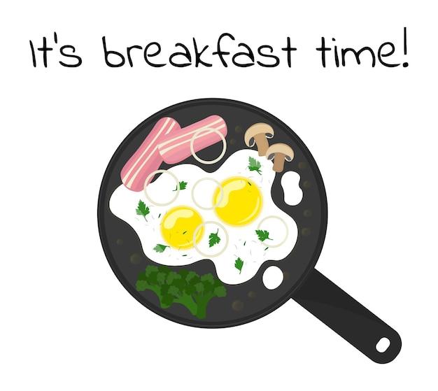 Gebakken eieren in koekenpan bovenaanzicht het is tijd voor het ontbijt eieren koken met ham, groenten en kruiden