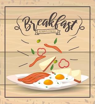 Gebakken eieren met bacons om te delicios ontbijt