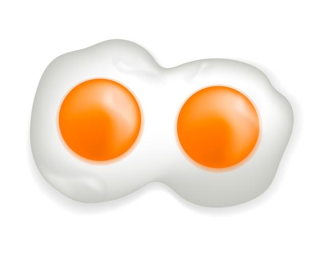 Gebakken eieren realistische 3d-stijl. kippenei dat op een witte achtergrond wordt geïsoleerd. illustratie