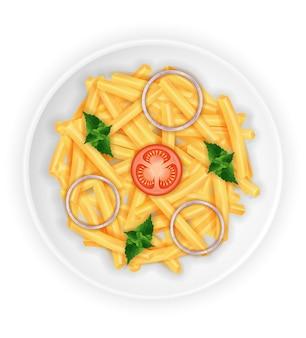 Gebakken geroosterde aardappelen op een bord met groenten op wit