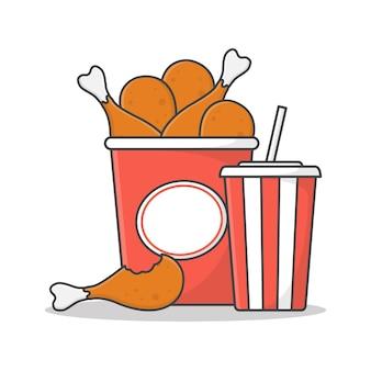 Gebakken kip emmer met soda cup pictogram illustratie. gebakken kip en frisdrank platte pictogram
