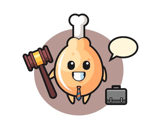 Gebakken kip mascotte als advocaat