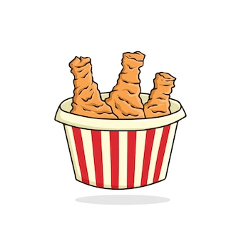 Gebakken kip vector geïsoleerd fastfood