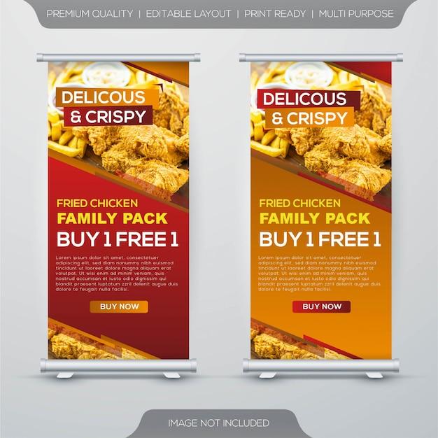 Gebakken kip voedsel rechtbank banner ontwerpsjabloon