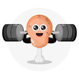 Gebakken kippendij barbell mascotte karakter logo character