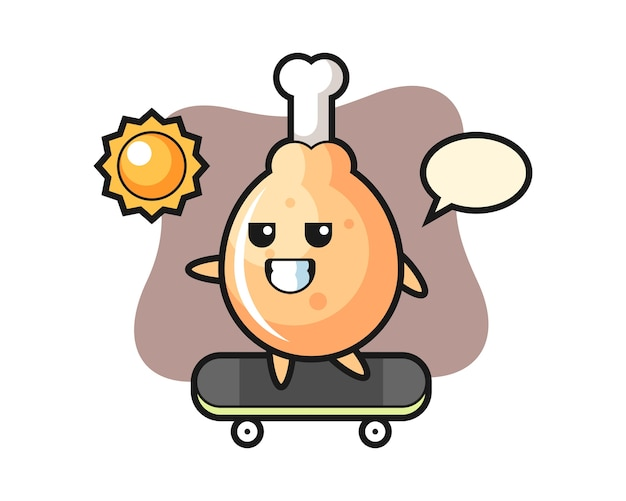 Gebakken kippenkarakter berijdt een skateboard