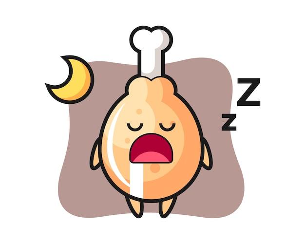 Gebakken kippenkarakter die 's nachts slapen