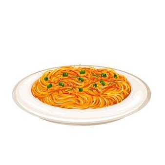 Gebakken noedels chinese keuken icoon. aziatisch eten vectorillustratie.
