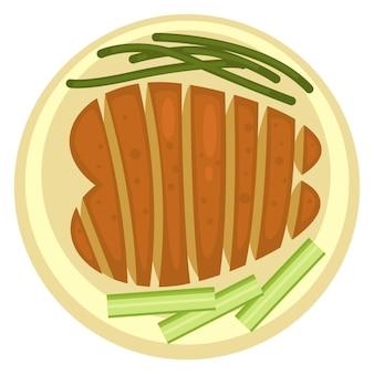 Gebakken of geroosterd vlees geserveerd op bord met asperges en bleekselderij. groenten en ribeye, gezond eten en diëten. restaurant of diner lunch of ontbijt lekkere gerechten. vector in vlakke stijl