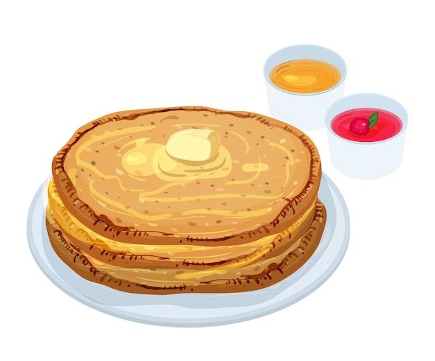 Gebakken pannekoeken die op plaat met boter, jam en honing liggen