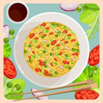 Gebakken rijst met groenten en stokken
