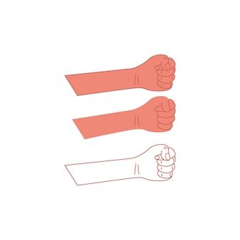 Gebalde vuisthand geïsoleerd. vector