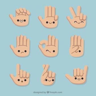 Gebaren met handen en mooie gezichten