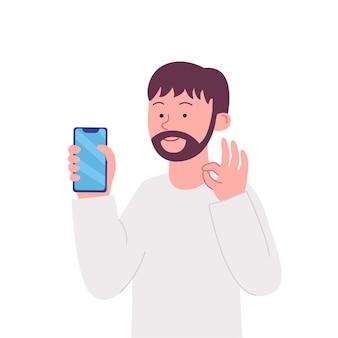 Gebaren ok arabische man show smartphone
