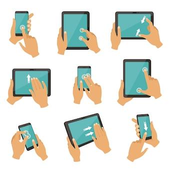 Gebaren om verschillende apparaten, tablets en smartphones te bedienen