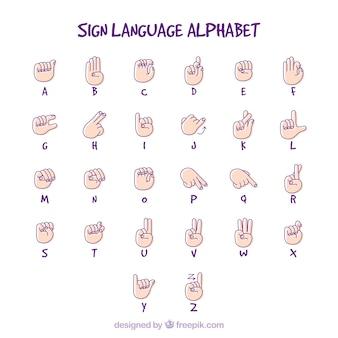 Gebarentaal alfabet Gratis Vector