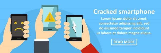 Gebarsten smartphone banner sjabloon horizontaal concept