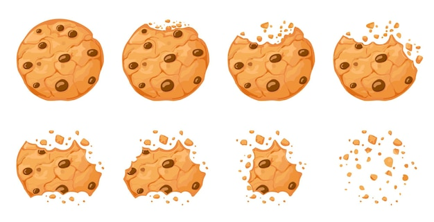 Gebeten chocoladeschilferkoekje. crunch zelfgemaakte bruine koekjes gebroken met kruimels. cartoon gebakken ronde choco cookies bijten animatie vector set. illustratie animatie verdwijnen choco kruimel stuk bakkerij