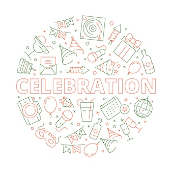 Gebeurtenis verjaardag viering symbolen in cirkel vorm vuurwerk ballonnen taarten sterren vector sjabloon