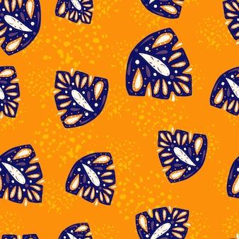 Gebladerte abstract naadloos patroon met marineblauwe willekeurige monstera volksvormen