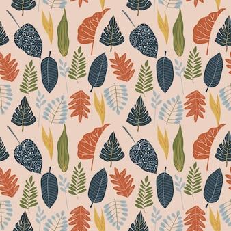 Gebladerte, bladeren, bloemen, botanische naadloze patroon