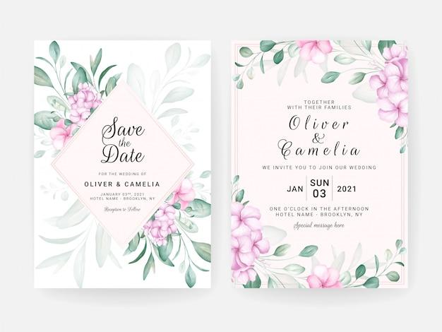Gebladerte bruiloft uitnodiging kaartsjabloon set met aquarel bloemstukken en rand.