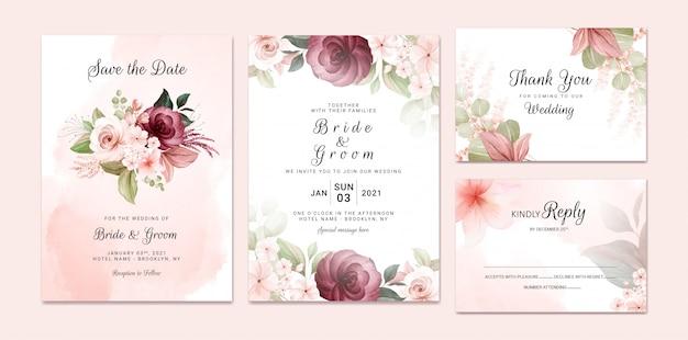 Gebladerte bruiloft uitnodiging sjabloon set met bordeaux en bruin aquarel bloemen boeket en rand decoratie. botanic kaart ontwerpconcept