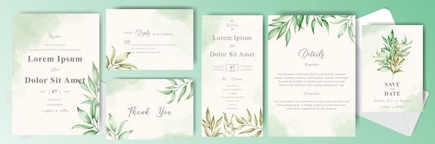 Gebladerte en groen aquarel bruiloft uitnodigingskaarten bundel set sjabloon