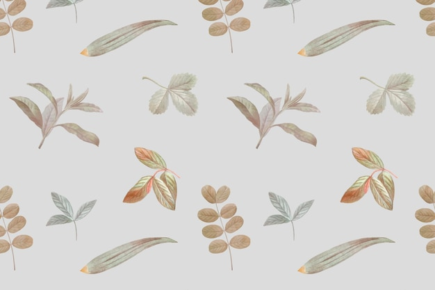 Gebladerte naadloos patroon op grijze achtergrond
