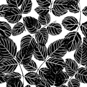 Gebladerte silhouet laat flora naadloos patroon