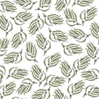 Gebladerte vormt willekeurig naadloos patroon op de achtergrond van de herfststijl