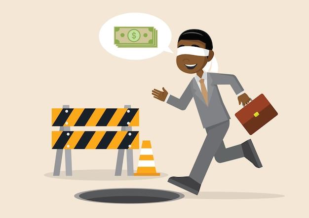 Geblinddochte afrikaanse zakenman die aan putgat loopt.