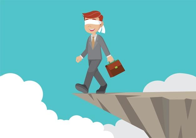 Geblinddoekt zakenman lopen naar de klif.