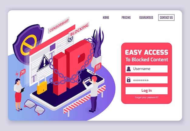 Geblokkeerde toegang tot webpagina's internetcensuur omzeilt isometrisch website-ontwerp met geketende ip-adresaanmelding
