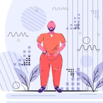 Geboeid gevangene man crimineel in oranje uniform arrest tribunaal gevangenisstraf concept mannelijke stripfiguur staande pose volledige lengte schets