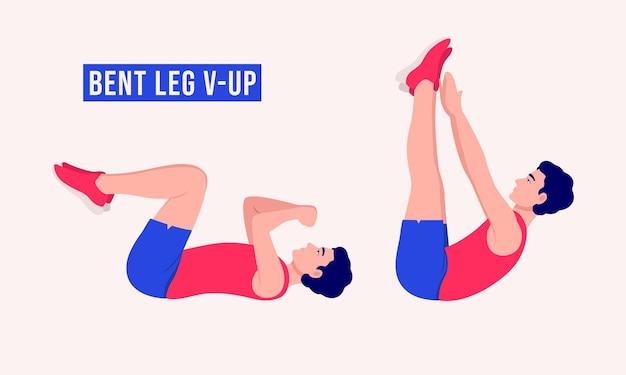 Gebogen been vup-oefening mannen workout fitness aerobics en oefeningen