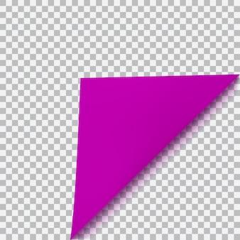 Gebogen hoek van papier met schaduw op transparante achtergrond. transparantie alleen in vectorformaat