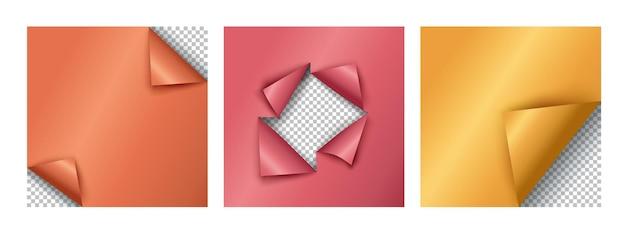 Gebogen hoekpagina's met lege ruimte voor uw ontwerp. realistisch vectorelement.