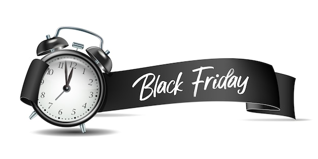 Gebogen papier banner lint met black friday-inscriptie