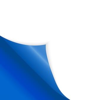 Gebogen papierhoek voor gratis vulling van blauwe kleur.