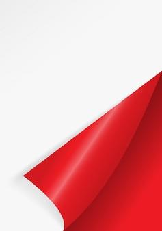 Gebogen papierhoek voor gratis vulling van rode kleur.