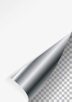 Gebogen papierhoek voor gratis vulling van witte kleur